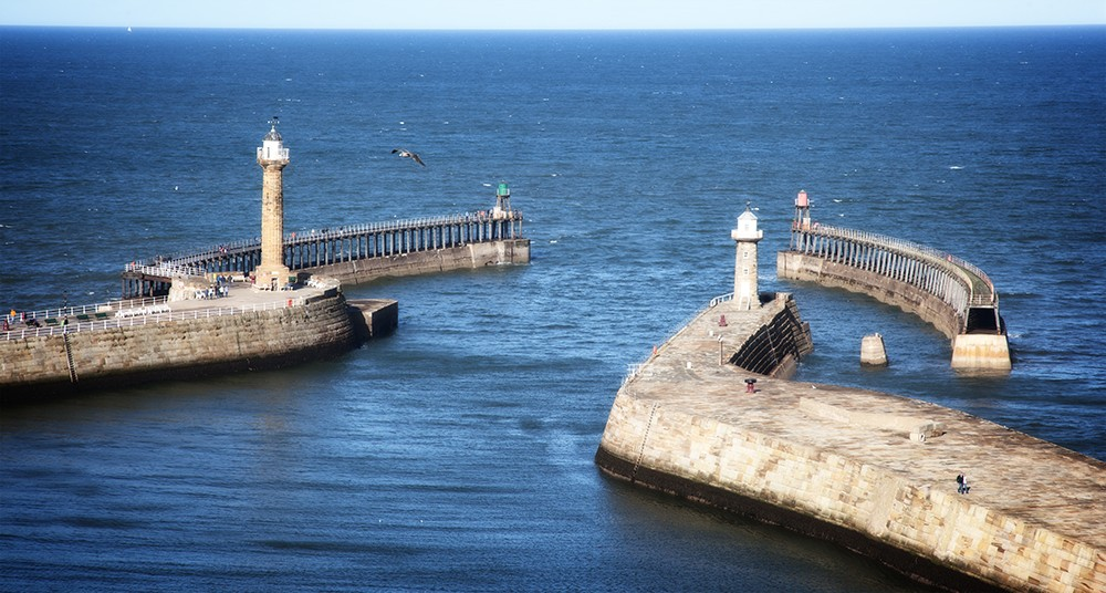 Harbour Wall at Whitby, North Yorkshire.